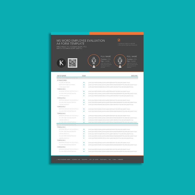 MS Word Employee Evaluation A4 Form Template