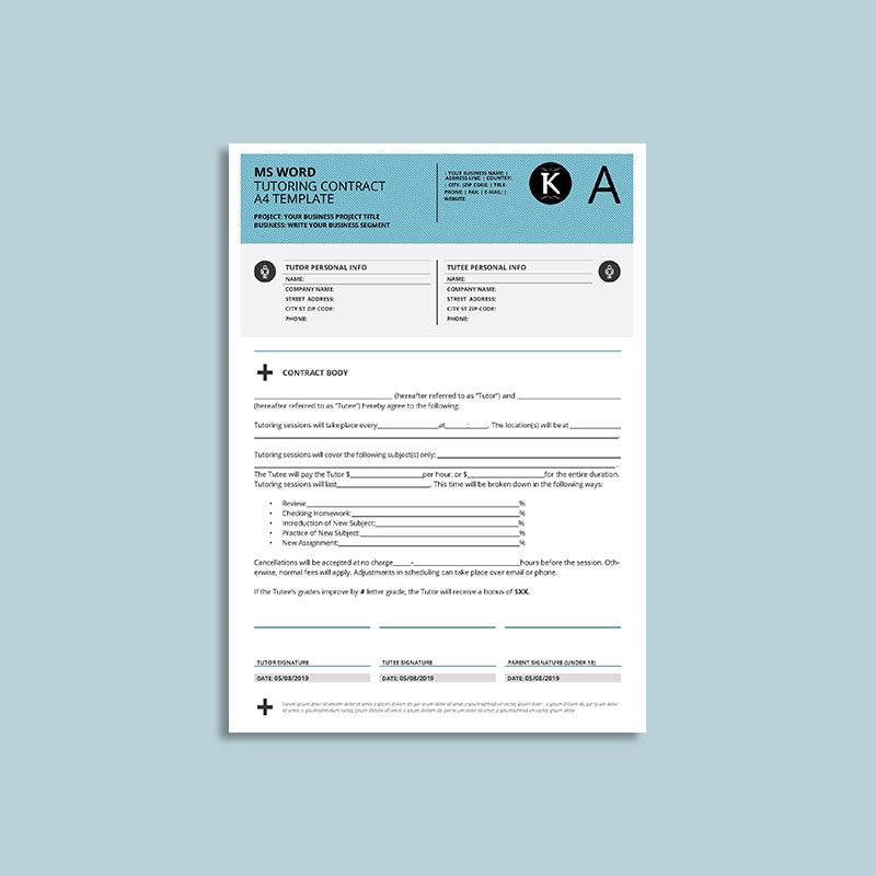MS Word Tutoring Contract A4 Template | keboto.org