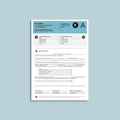 MS Word Tutoring Contract A4 Template