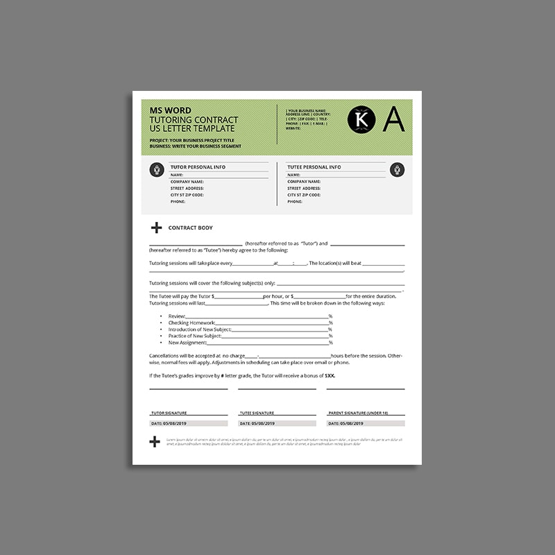MS Word Tutoring Contract US Letter Template
