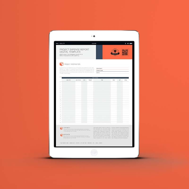 Project Expense Report Digital Template