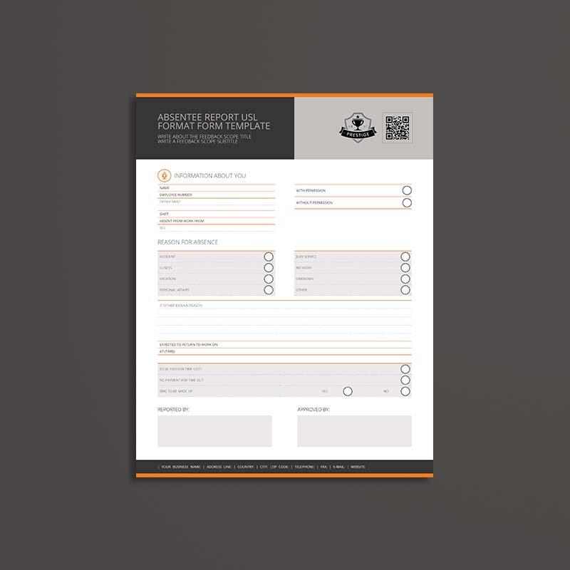 Absentee Report USL Format Form Template