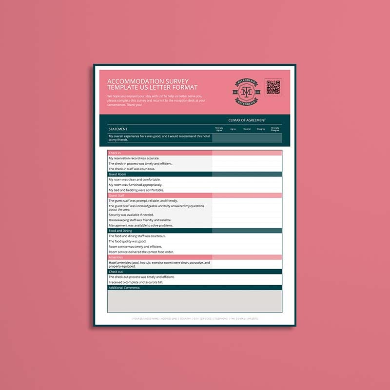 Accommodation Survey Template US Letter Format