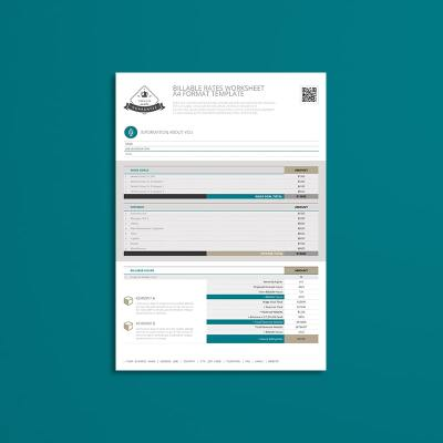 Billable Rates Worksheet A4 Format Template