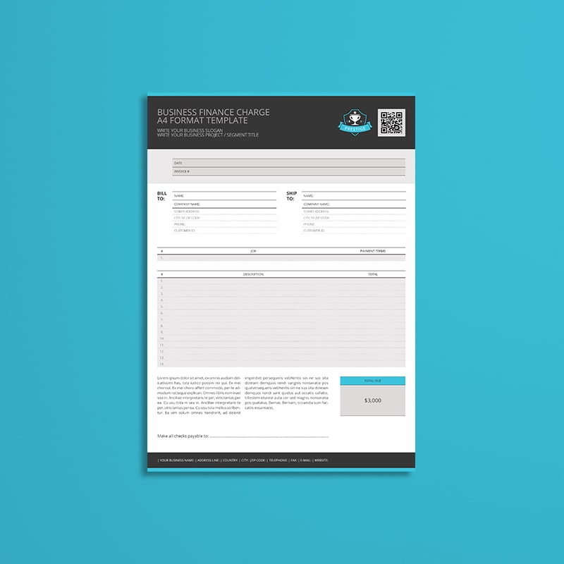 Business Finance Charge A4 Format Template