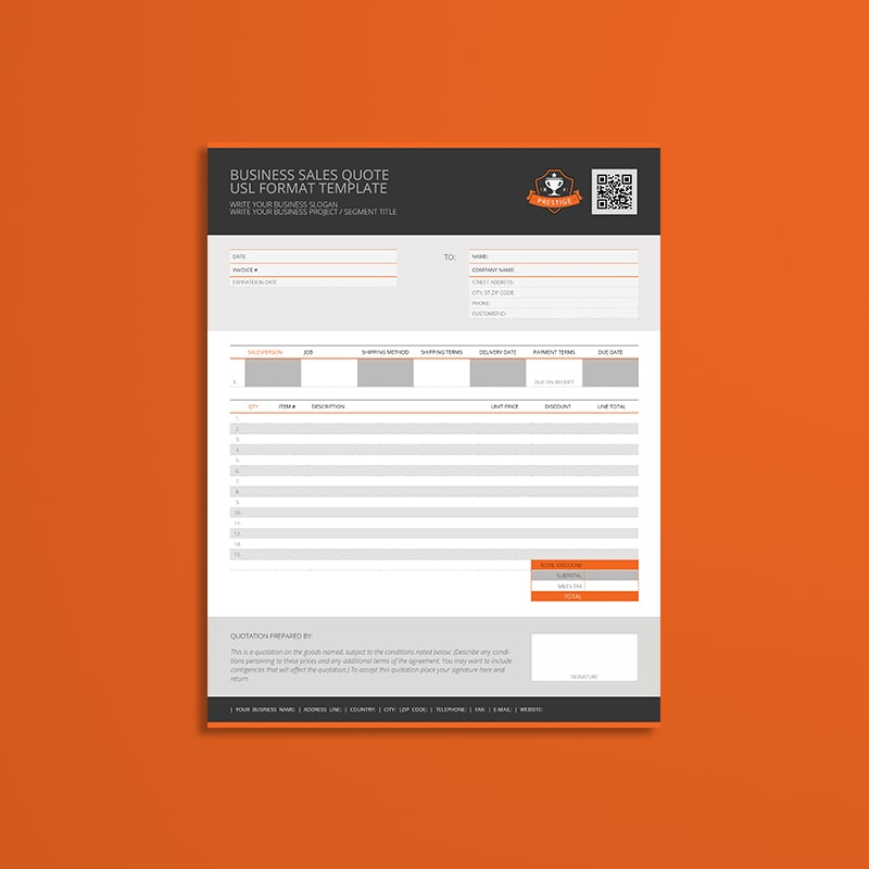 Business Sales Quote USL Format Template