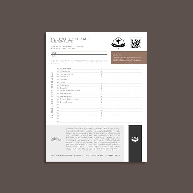 Employee Hire Checklist USL Template