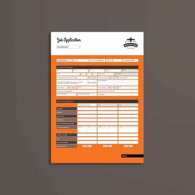 Job Application Form A4 Portrait Template