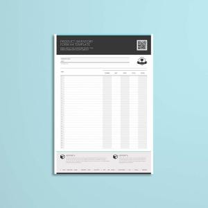 Product Inventory Form A4 Template
