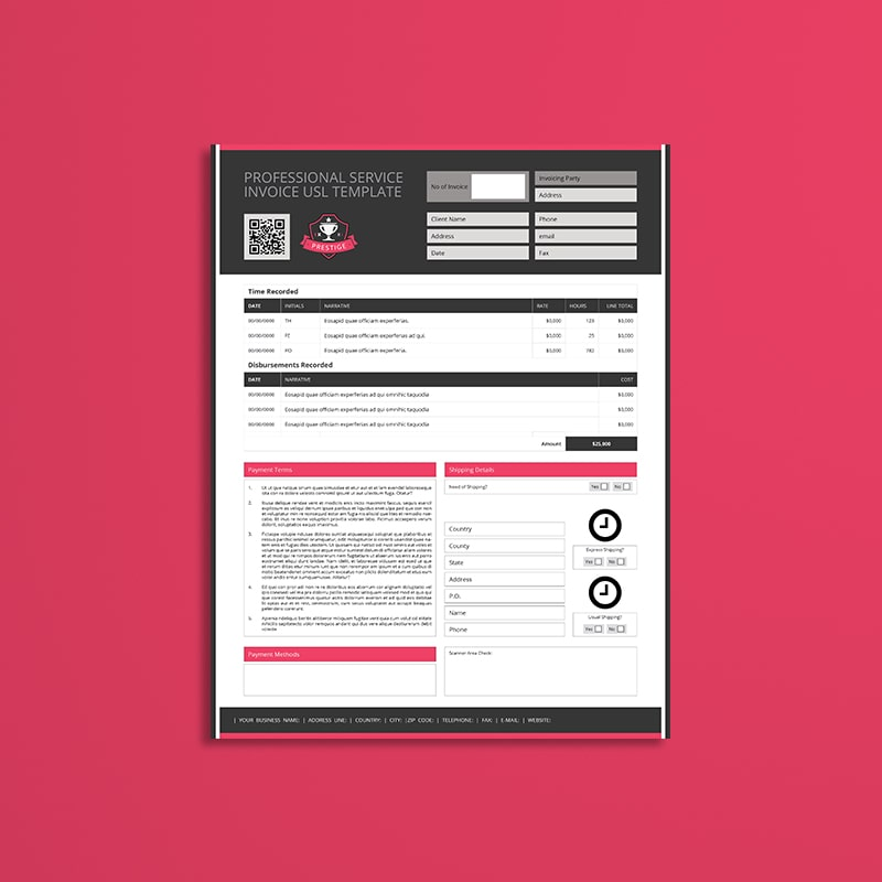 Professional Service Invoice USL Template