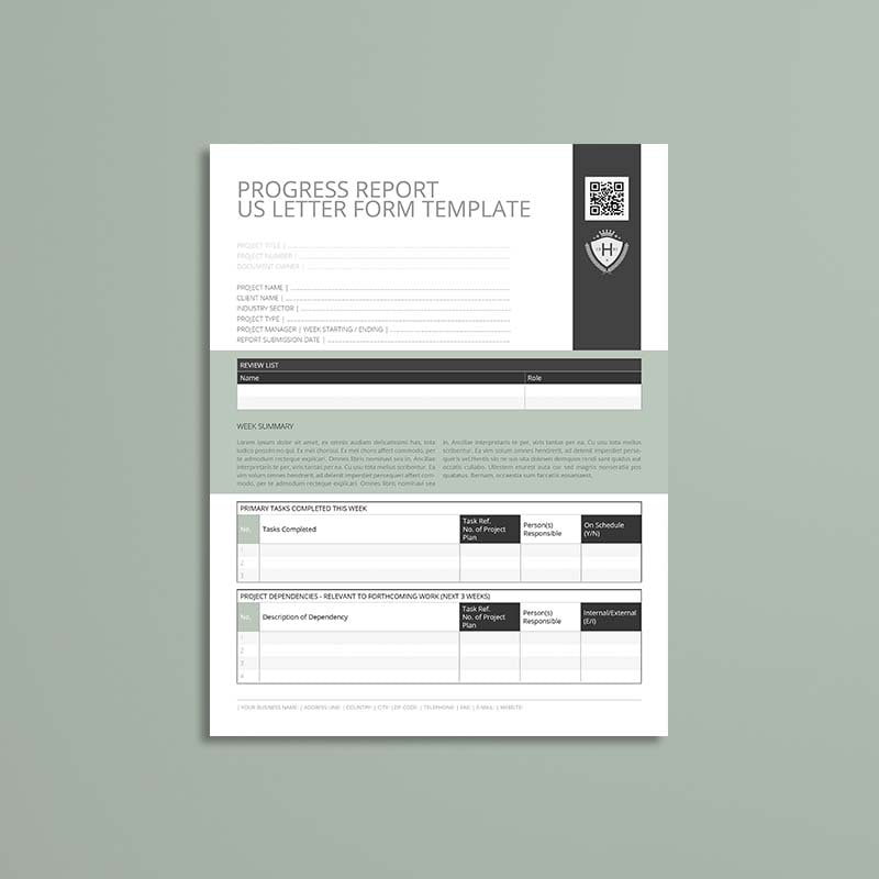 Progress Report US Letter Form Template