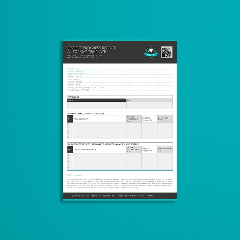 Project Progress Report A4 Format Template