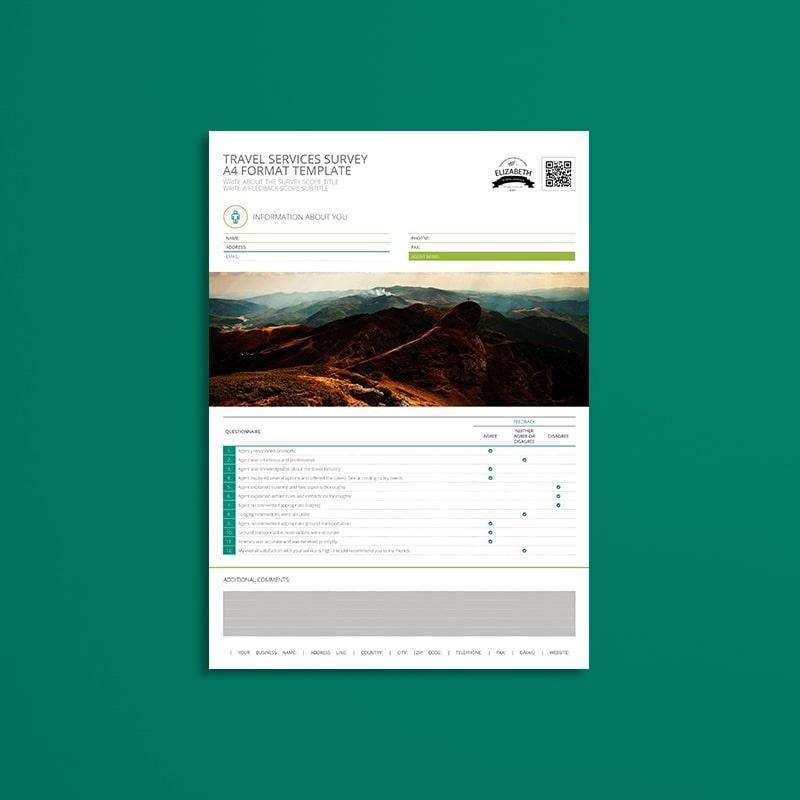Travel Services Survey A4 Format Template