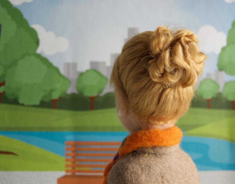 yün vesikalık kişiye özel figür - keçe iğneleme büst saç detayı