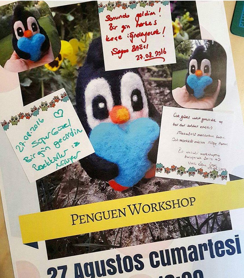 keçe iğneleme penguen yapım atölyesi keçe kursu workshop