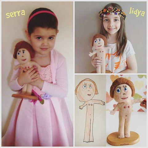 çocuk hayalim projesi çocuk çizimlerinden yün figürler yün heykeller
