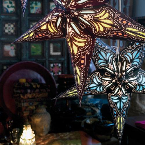 Kerstster lamp jaipur turquoise blue