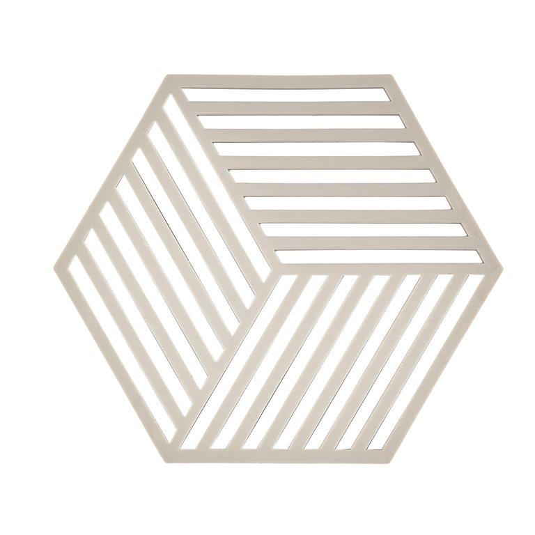 Trivet warm grey hexagon