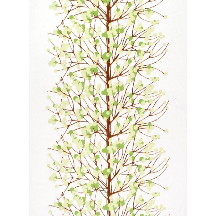 Marimekko Lumimarja Cotton Stof Green/White