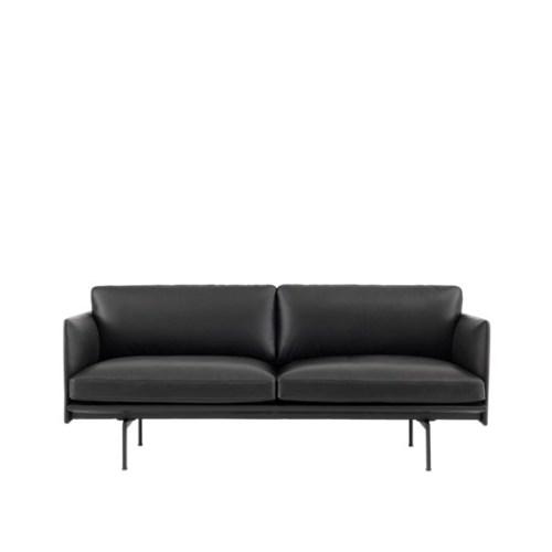 Muuto Outline Sofa 2 seater Refine Leather Black - Black Base