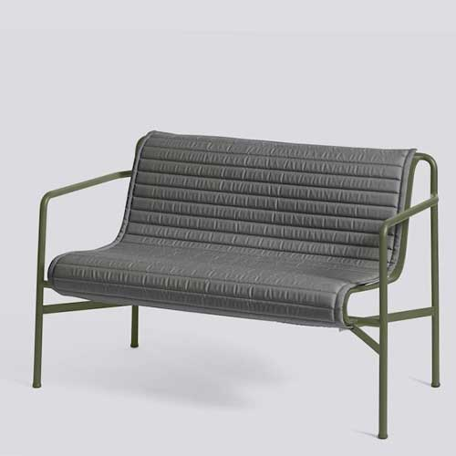 HAY Palissade Quilted Cushion Dining Bench Anthracite