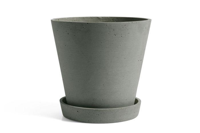 Flowerpot with saucer XL green