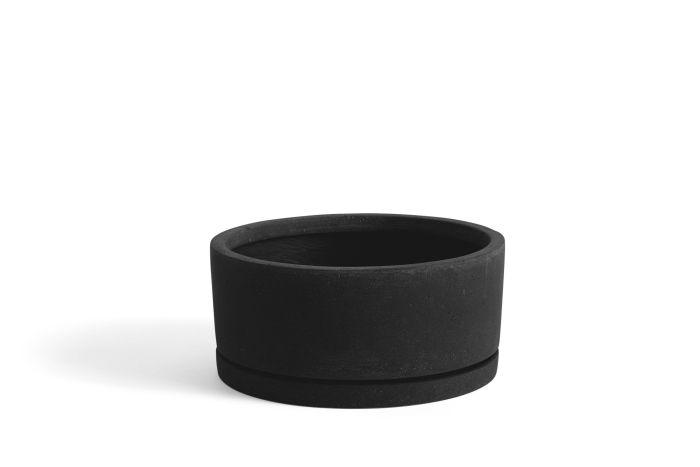 Plant pot with saucer XL black