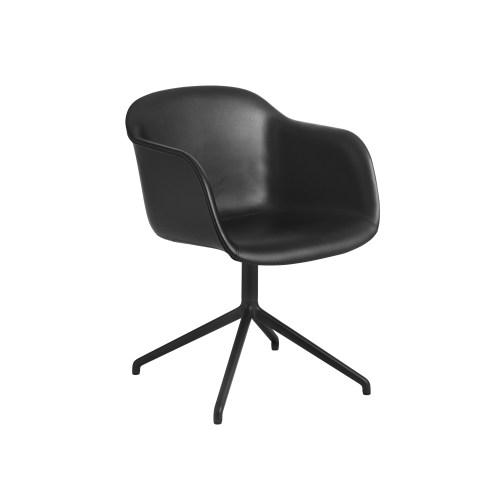 Muuto Fiber Armchair Swivel Base (wo return) Refine Leather Black/Black