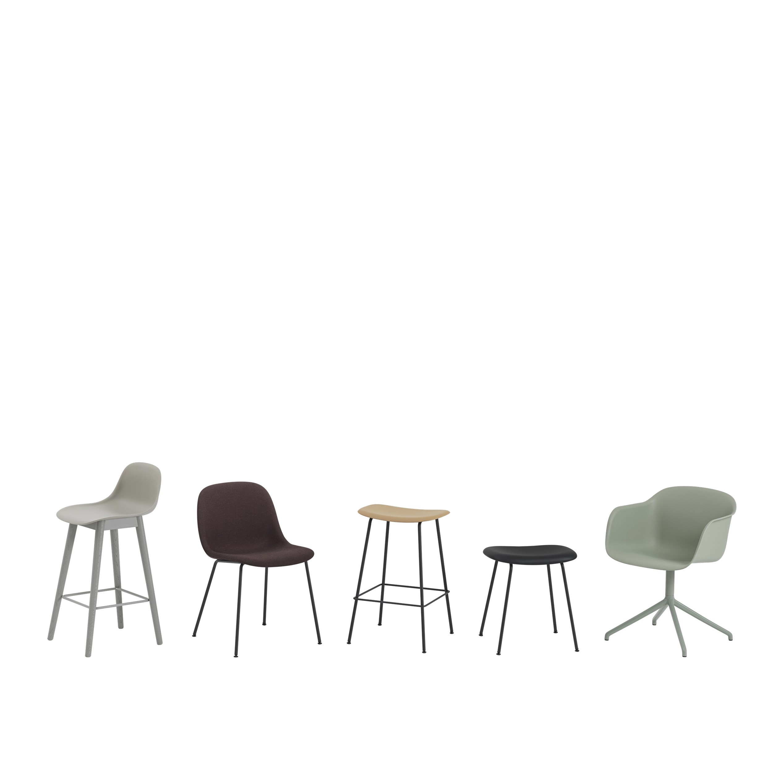 Muuto Fiber Side Chair Wood Base Remix183/Black