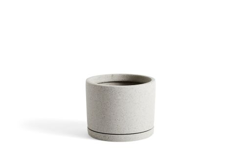 Plant Pot with Saucer L Grey