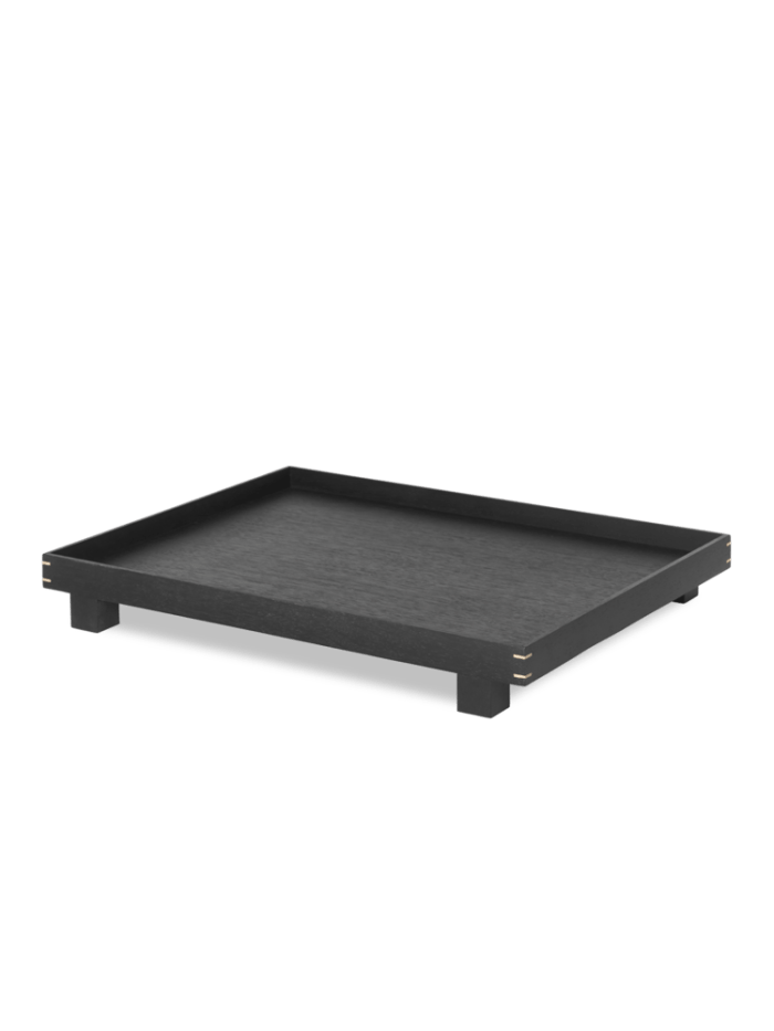 Bon wooden tray large black stained oak