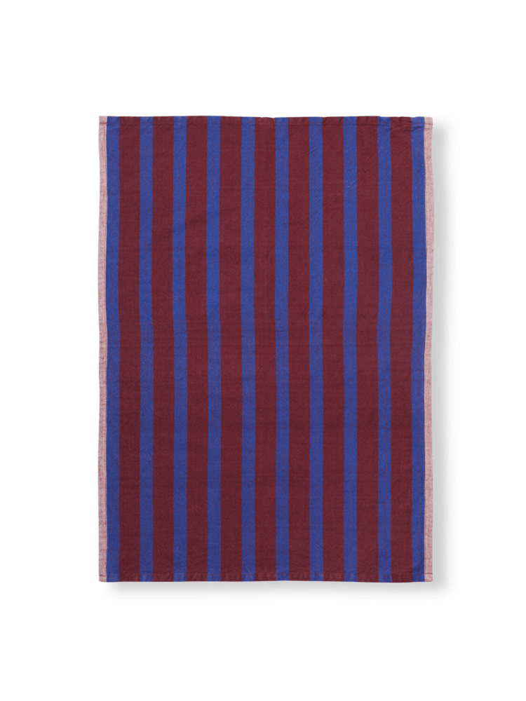 Hale yarn dyed linen tea towel brown