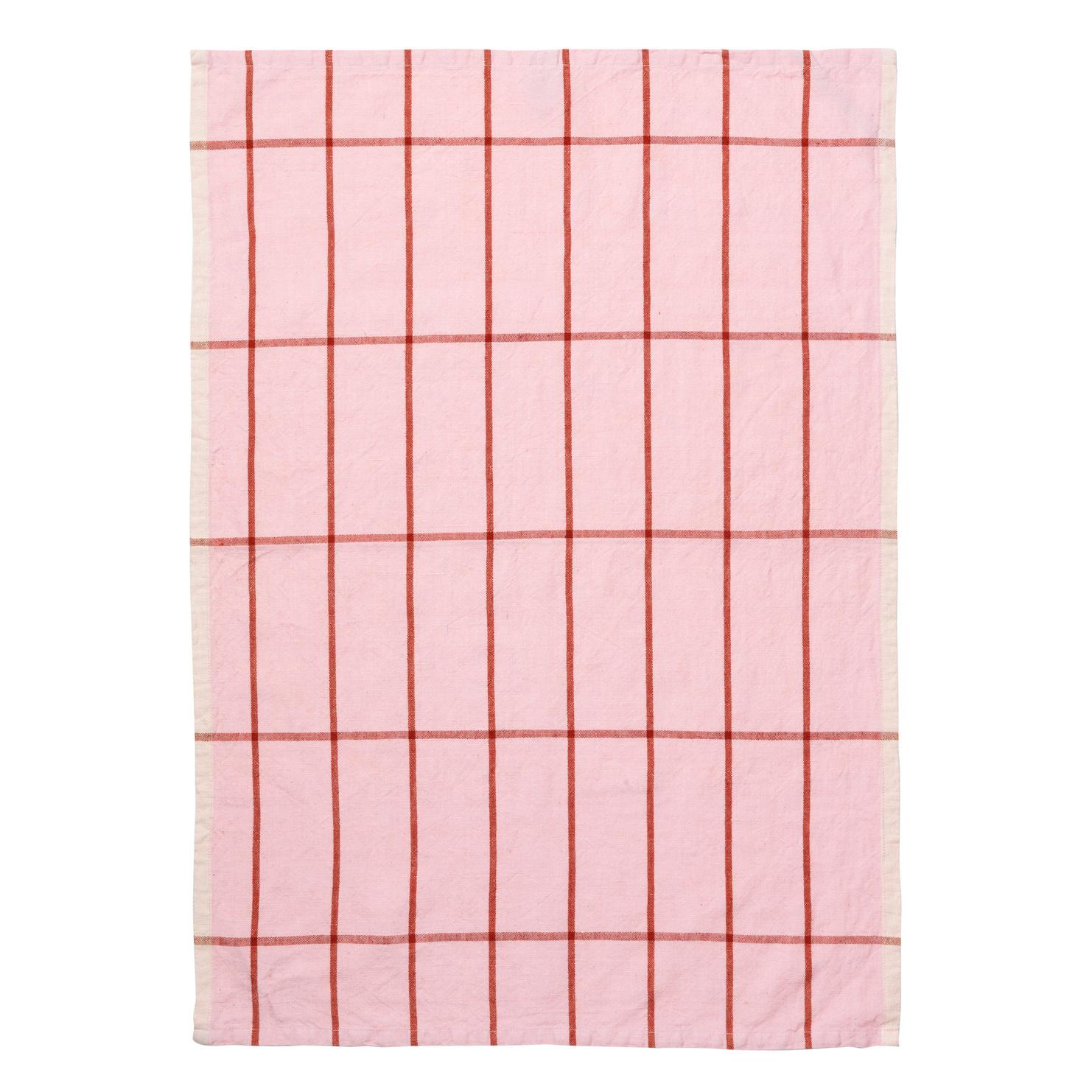 Hale yarn dyed linen tea towel rose