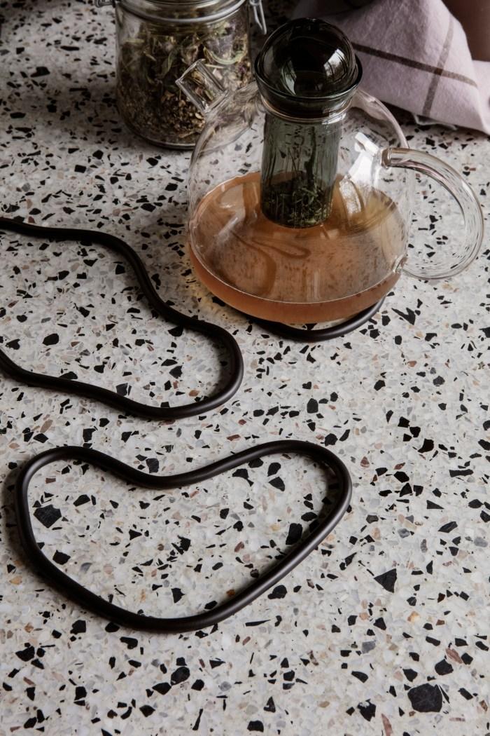 Pond trivets set of 3 black brass