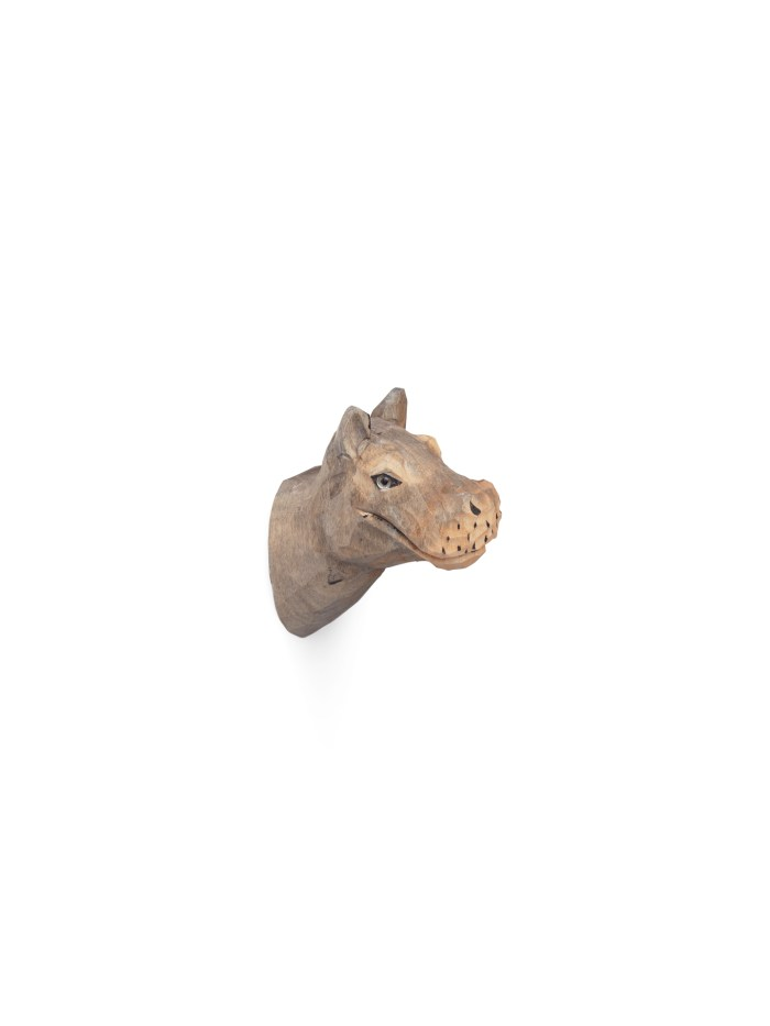 Animal hand-carved hook hippo