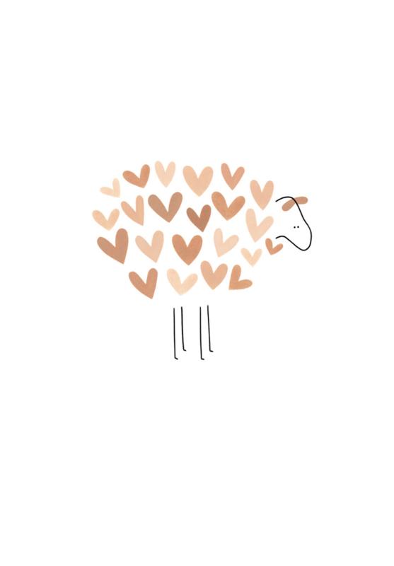 Gevouwen kaart - Schaap met roze hartjes