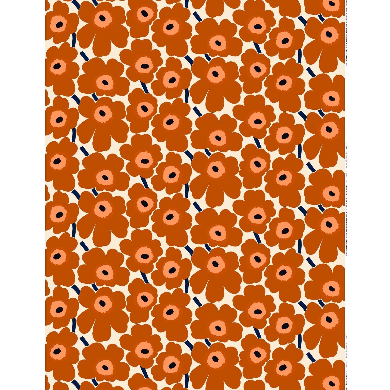 Marimekko Pieni Unikko Cotton Fabric Brown Orange
