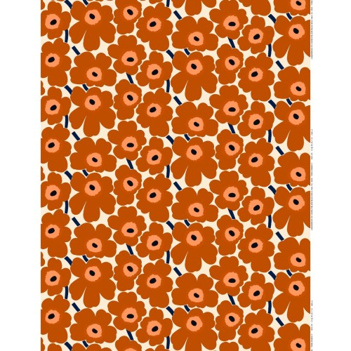 Marimekko Pieni Unikko Cotton Fabric Brown Orange