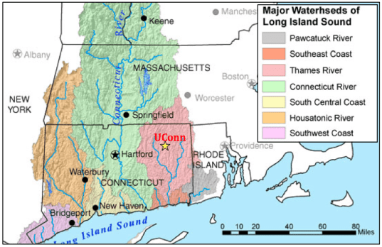 Figure 1.  Overview map of the 2015 southern New England Keck project study area (image credit: USGS Connecticut River Watershed Atlas)