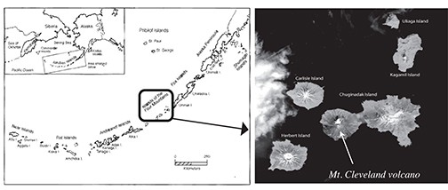 Figure 2. The Islands of the Four Mountains, Alaska, showing Carlisle and Chuginadak Islands in the study area. Yunaska and Amukta to the west not shown. Preliminary 14C dates show explosive eruptions in the IFM at circa 2700 and 3600 calib. yBP (Nicolaysen, unpublished data), synchronous with human movement westward to the central Aleutians (image from: NASA Earth Observatory, 2012).