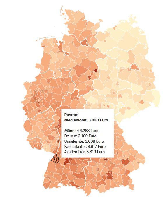 Median bér Rastatt régióban