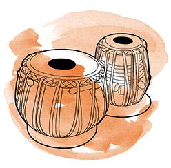 Drawing of tabla with orange swirl