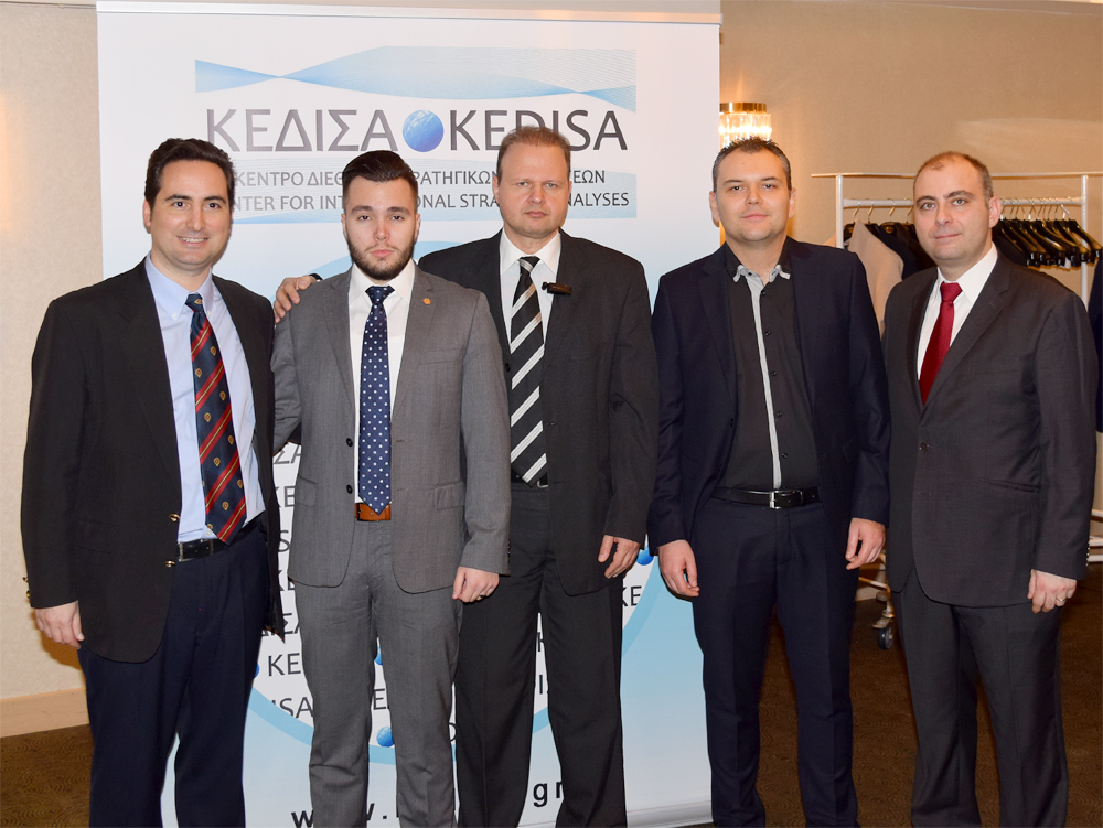 From left to right: The Founder & President of KEDISA Mr.Andreas G. Banoutsos, the President of the youth chapter of AHEPA, Sons of Pericles, Athens Chapter «THESEUS» and Junior Analyst of KEDISA, Mr. Dimitris Raptis, the Executive Director of KEDISA Mr.Giorgos Protopapas, the Founding Member and Member of the BOD of KEDISA, Mr.Konstantinos Margaritou, and the Director of Research of KEDISA, Dr.Petros Violakis.
