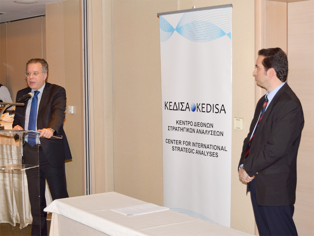From left to right: The representative of the President of ND, Mr. Kyriakos Mitsotakis, MP Mr. George Koumoutsakos and the Founder & President of KEDISA Mr.Andreas G. Banoutsos.