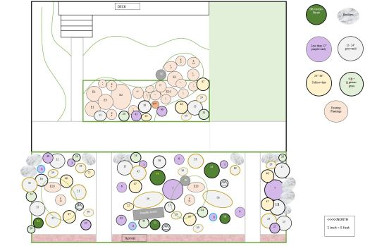 "The design plan for the new Keeler Gardens Pollinator Habitat shows both existing and proposed plantings. Existing are label by number with ""E"" to denote they are already part of the space, grouped mostly at the top of the design (east side) and will be incorporated into the habitat design. New plantings are drawn as circles, color coded by season, purple for early bloom, grey for mid-season bloom, and yellow for late blooms. Greens denote grasses (light) or shrubs (dark). Outlines indicate the height of full grown plants from thin (12"" minimum height) to thick (4-6 ft maximum height). New plantings are scattered throughout the design to fill the space. Also included in the design are proposed structures like boulders, benches, water features, and trellises."