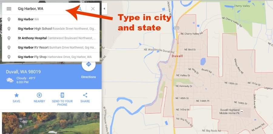 city and state in google maps