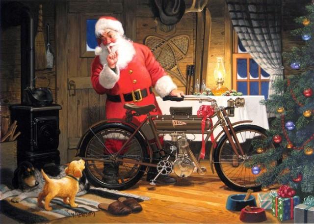 Дед Мороз с мотоциклом