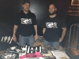 Ademo and Pete with some Cop Block gear