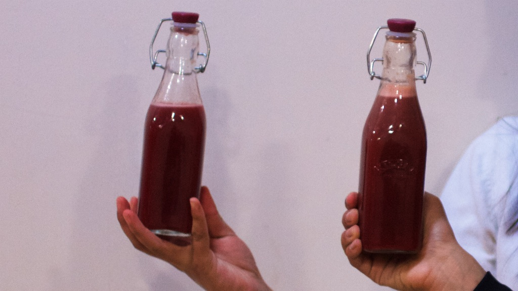 red juice in bottles