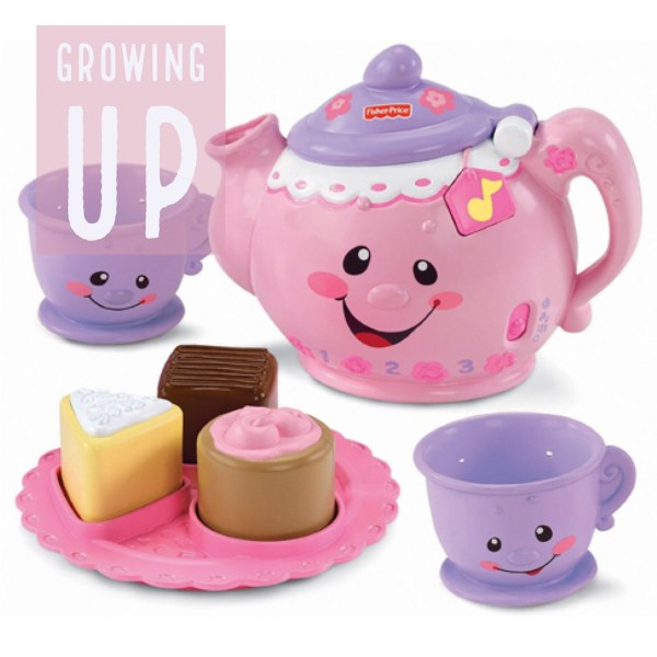 Growing up poster with children tea cup set